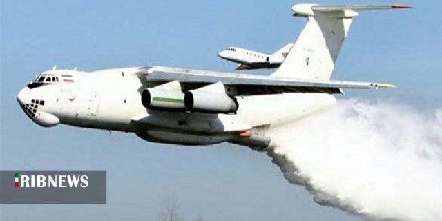 هواپیمای ایلوشین بر فراز تالاب آتش گرفته انزلی/ فیلم