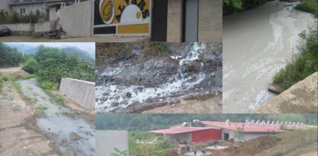 رها سازی فاضلاب مجتمع جوجه کشی به رودخانه